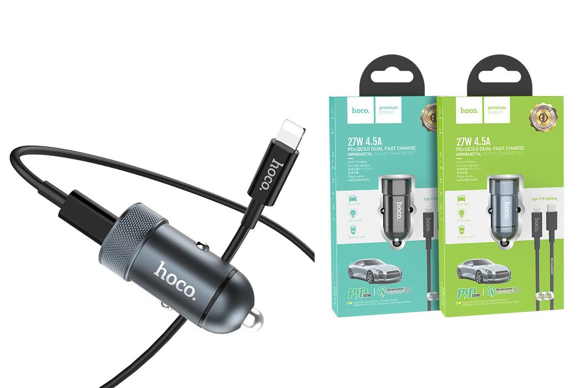 Автомобильное зарядное устройство USB +Type C HOCO Z32B Speed up PD+QC3.0 car charger Set(C TO Lightning) серый