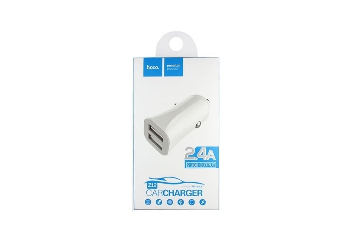 Автомобильное зарядное устройство 2USB HOCO Z12 elite two-port car charger 2400 mAh белый