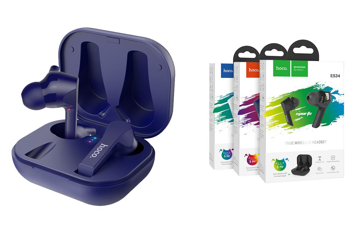 Bluetooth-гарнитура ES34 Pleasure wireless headset HOCO синяя
