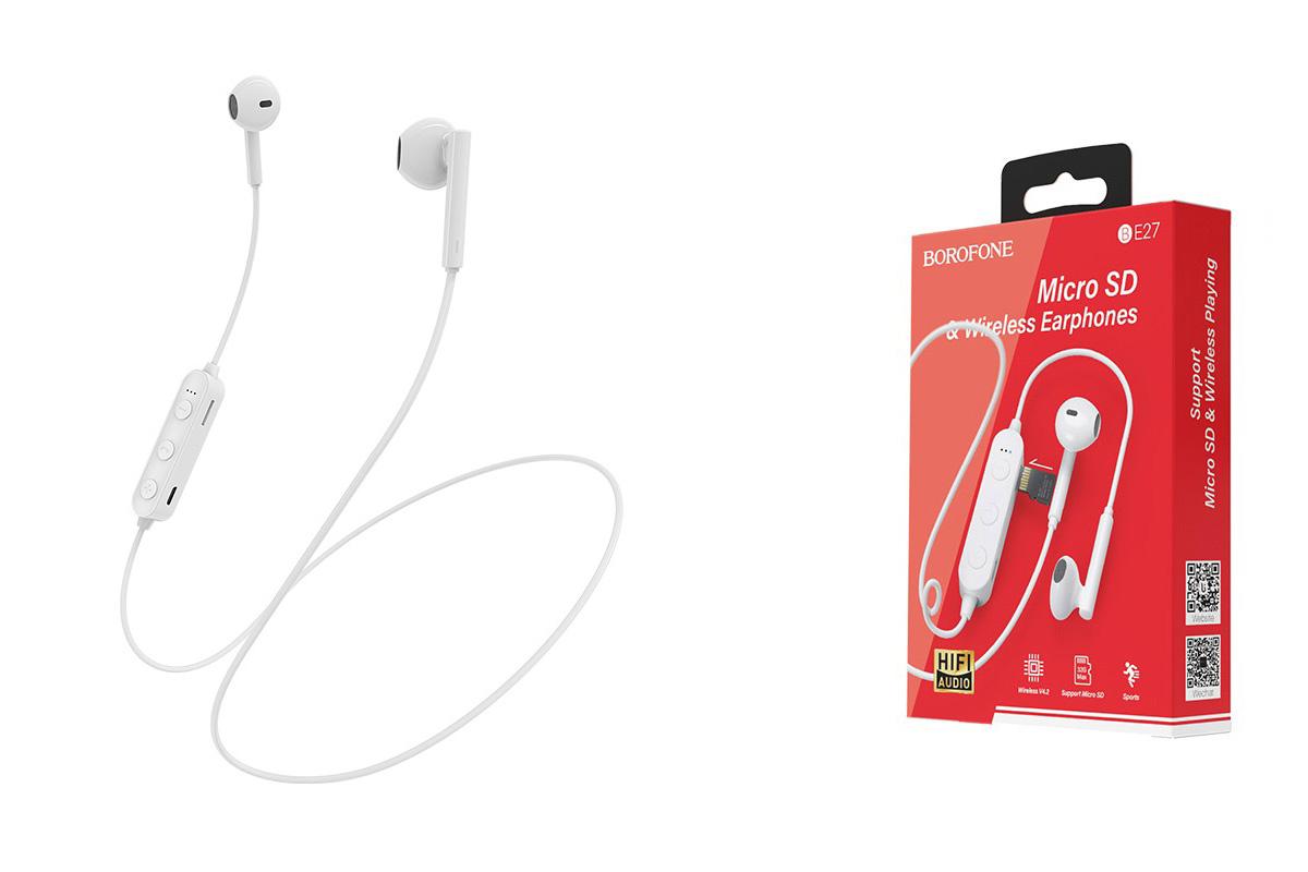 Bluetooth-гарнитура BOROFONE BE27 Cool song sports wireless earphonesl 3.5мм цвет белая