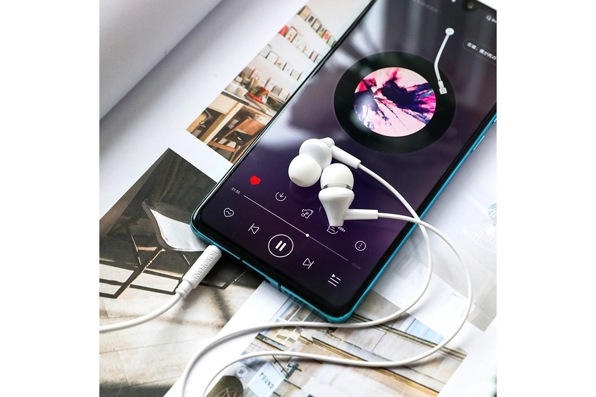Гарнитура BOROFONE BM49 Player universal earphones 3.5мм цвет белая