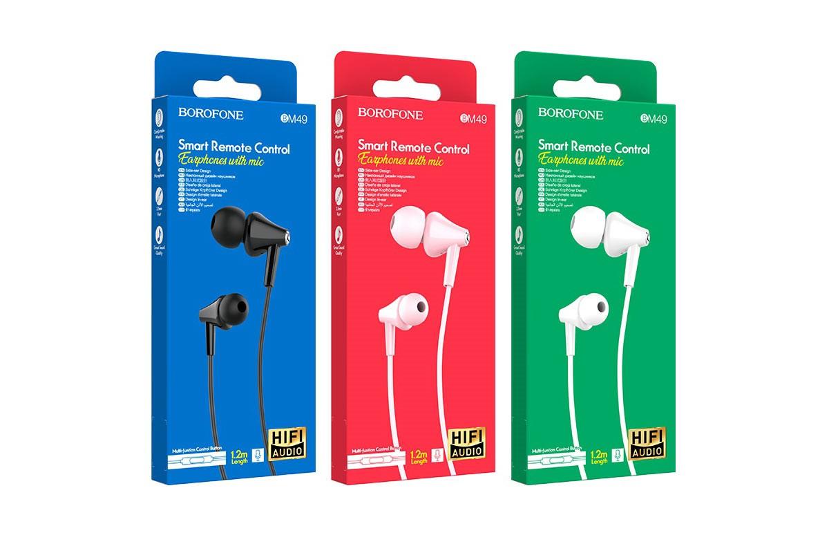 Гарнитура BOROFONE BM49 Player universal earphones 3.5мм цвет черная