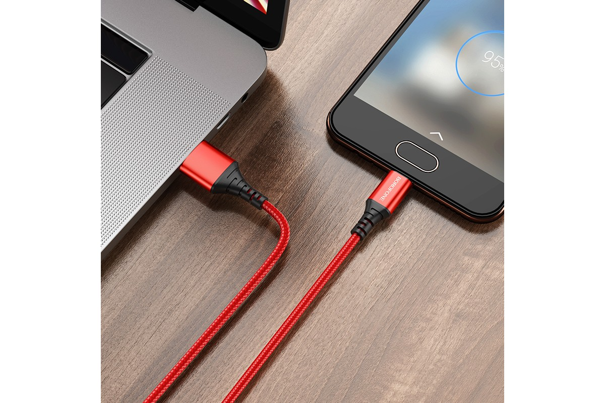 Кабель USB micro BOROFONE BX54 Ultra bright (черный) 1 метр