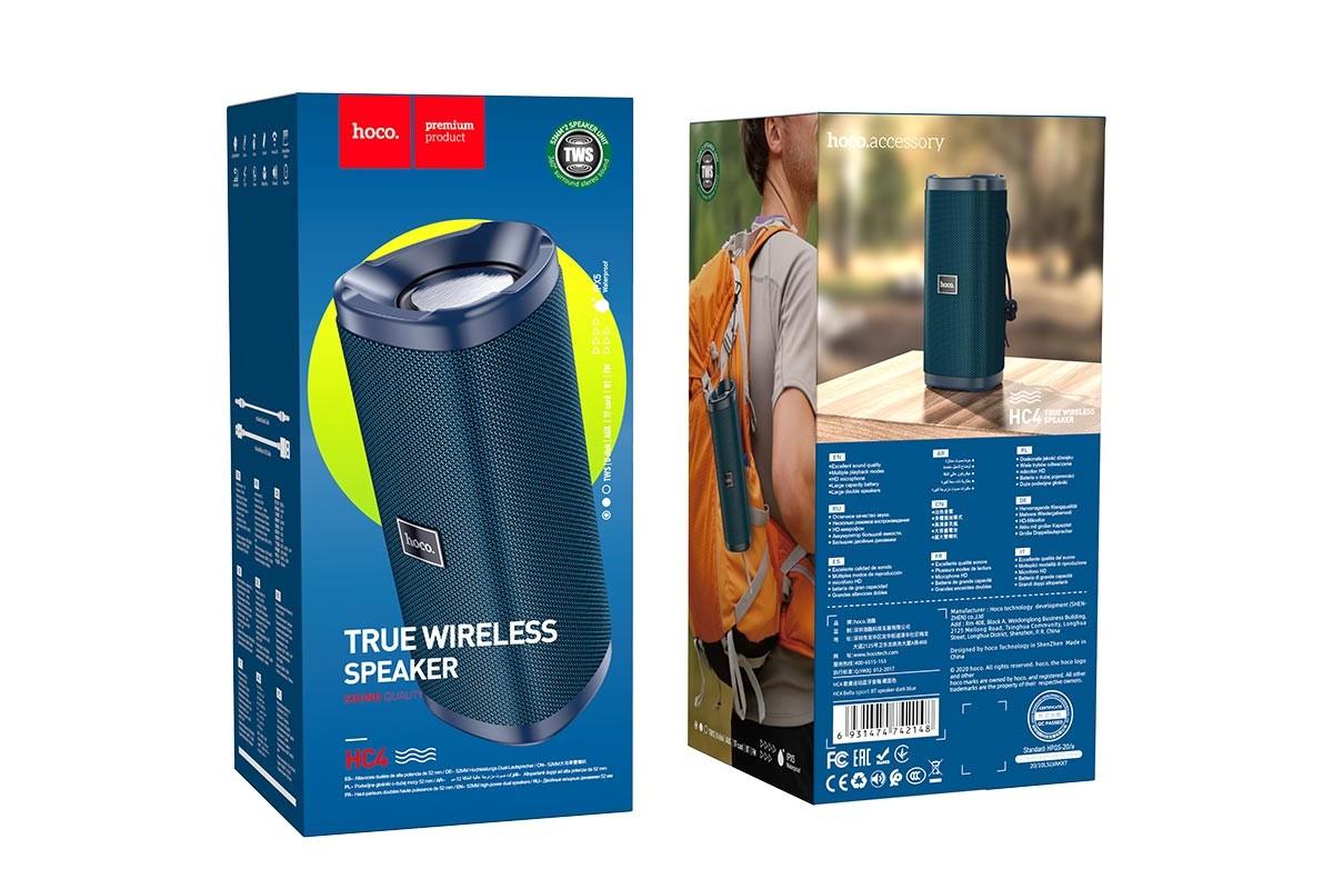 Портативная беспроводная акустика HOCO HC4 Bella sports BT цвет темно синий