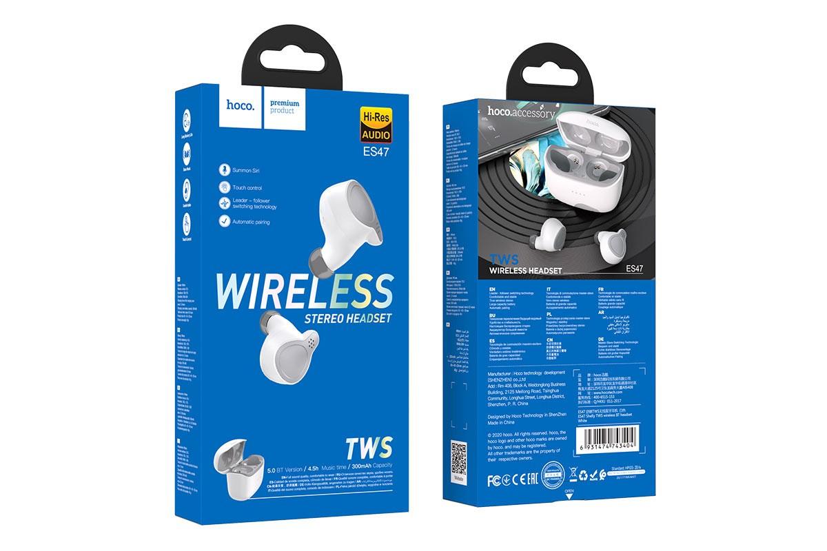 Беспроводные наушники ES47 Shelly sound TWS wiereless headset HOCO белая