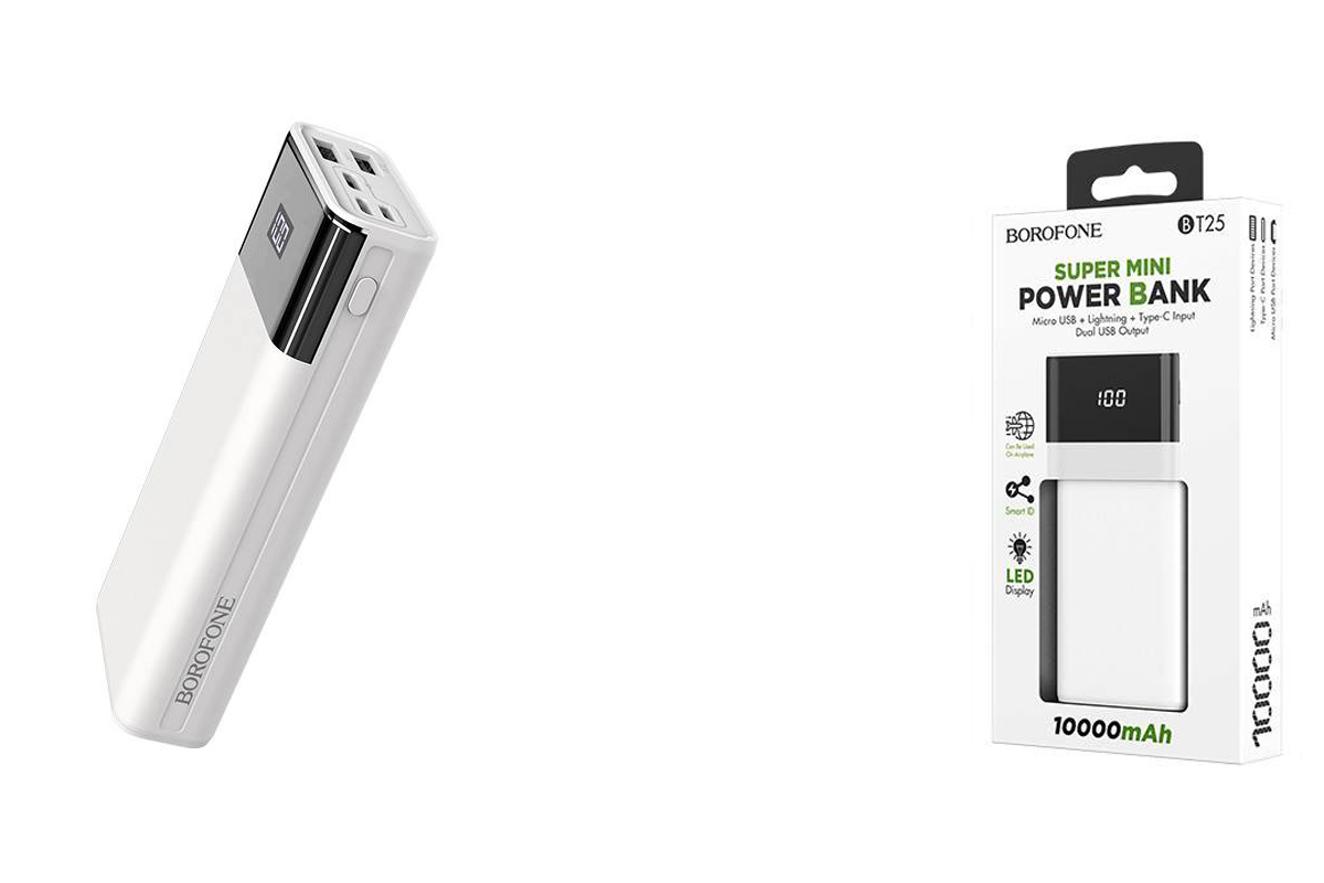 Универсальный дополнительный аккумулятор BOROFONE BT25 High Power mobile power bank 10000 mAh  белый