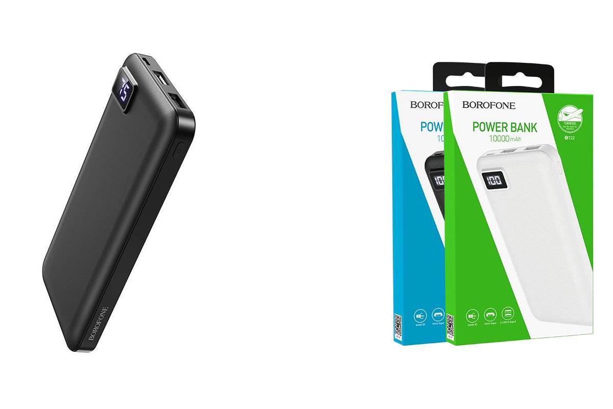 Универсальный дополнительный аккумулятор BOROFONE BT22 Intelligent mobil  Power Bank 10000 mAh черный