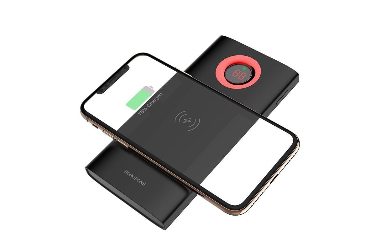 Универсальный дополнительный аккумулятор BOROFONE BT16 AirPower Wireless 10000 mAh черный (с беспроводной зарядкой)