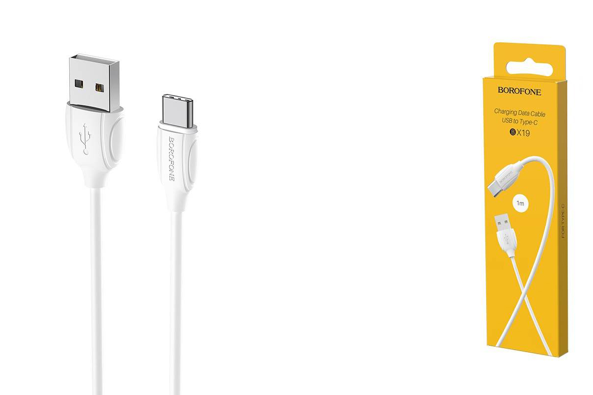 Кабель USB BOROFONE BX19 Benefit charging data cable for Type-C (белый) 1 метр