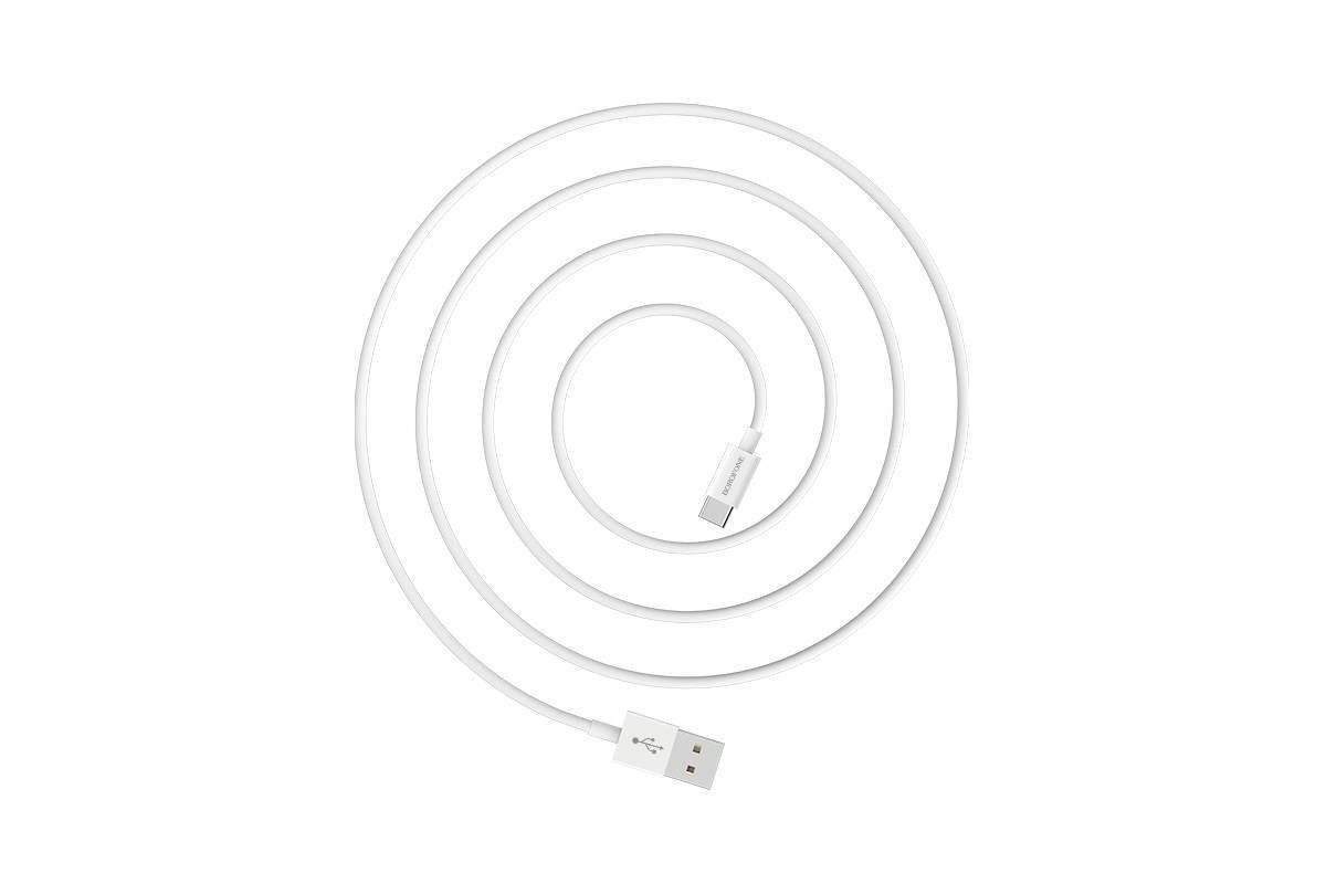 Кабель USB BOROFONE BX22 Blooml charging data cable for Type-C (белый) 1 метр