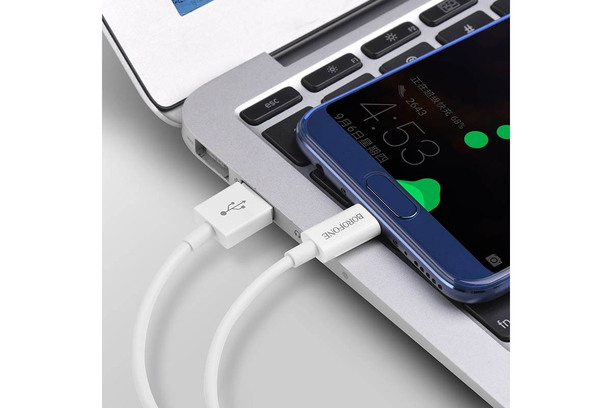 Кабель USB BOROFONE BX22 Blooml charging data cable for Type-C (белый) 1 метр