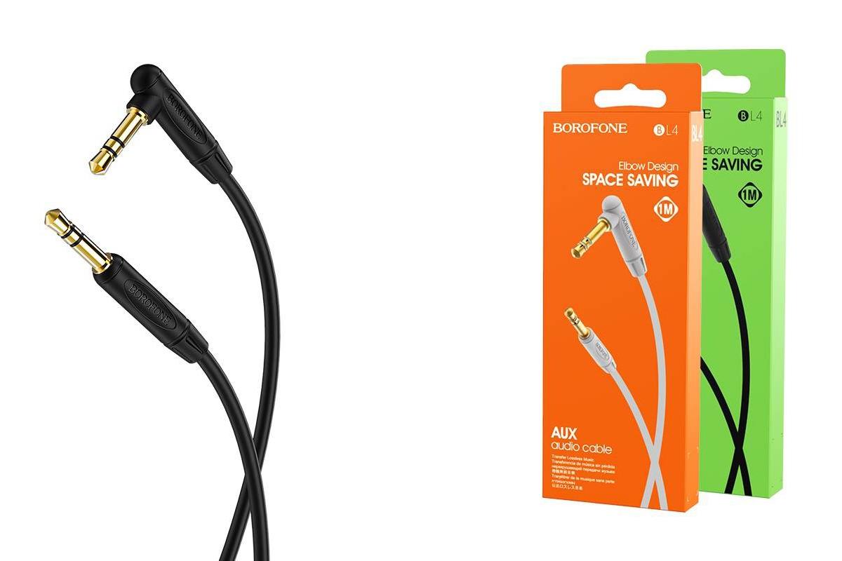 Кабель удлинитель BOROFONE BL4 AUX Audio cable 3.5 1 метр черный