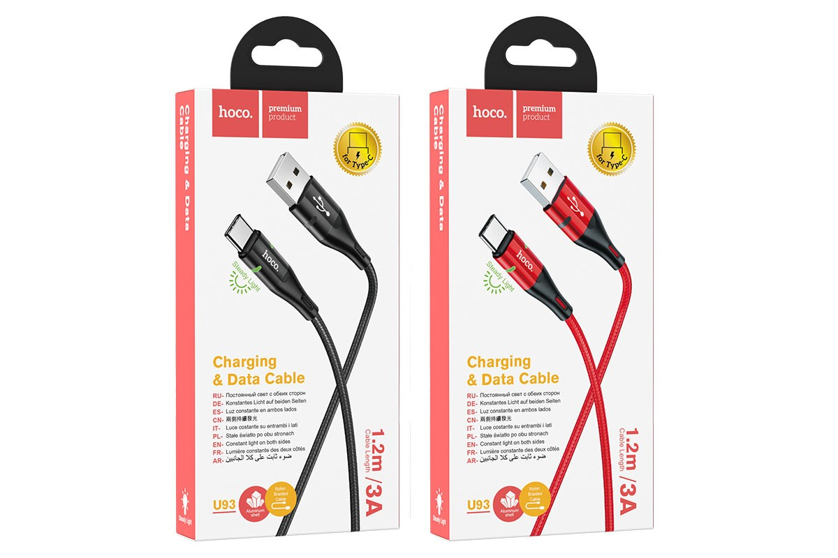 Кабель USB HOCO U93 Shadow charging cable for Type-C (черный) 1 метр