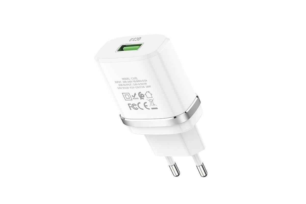 Сетевое зарядное устройство USB HOCO C12Q Smart QC3.0 charger белый