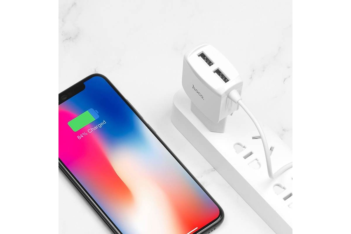 Сетевое зарядное устройство 2 USB 2400mAh + кабель iPhone 5/6/7 HOCO C59A Mega joy double port  белый