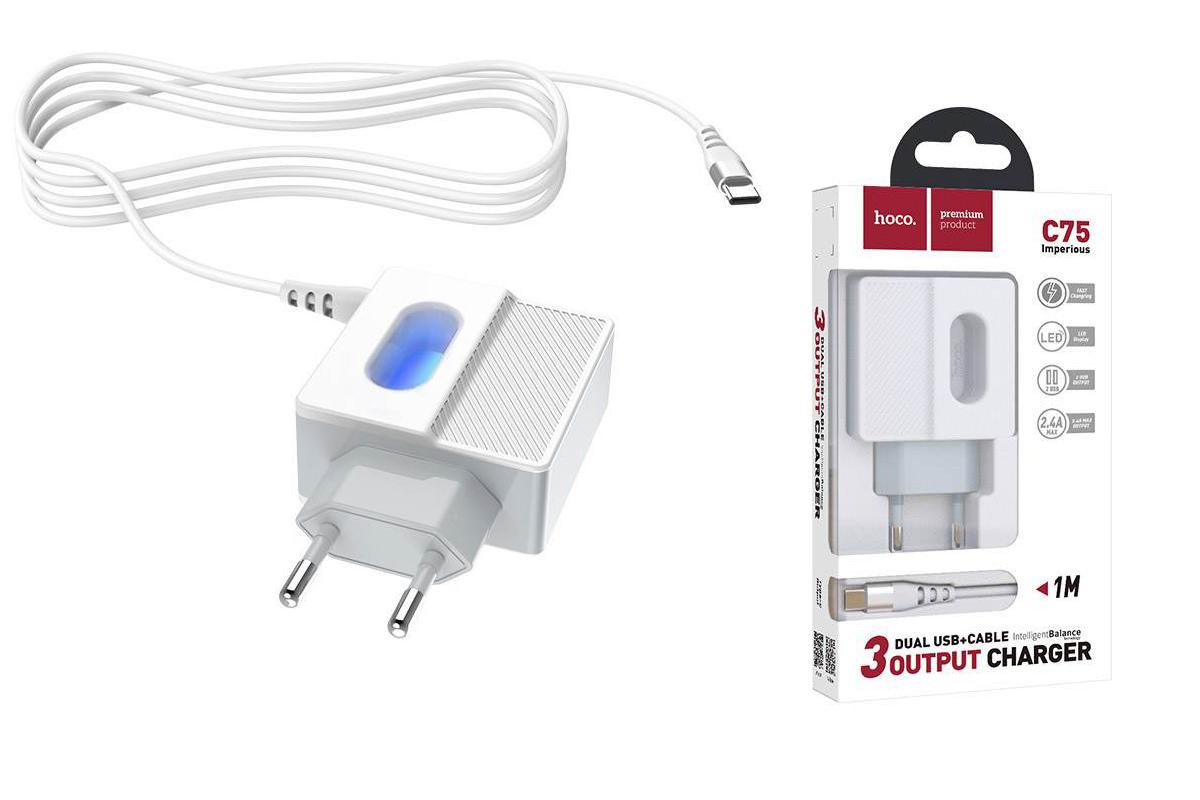 Сетевое зарядное устройство USB + кабель Type-C HOCO C75 Imperious dual port charger белый
