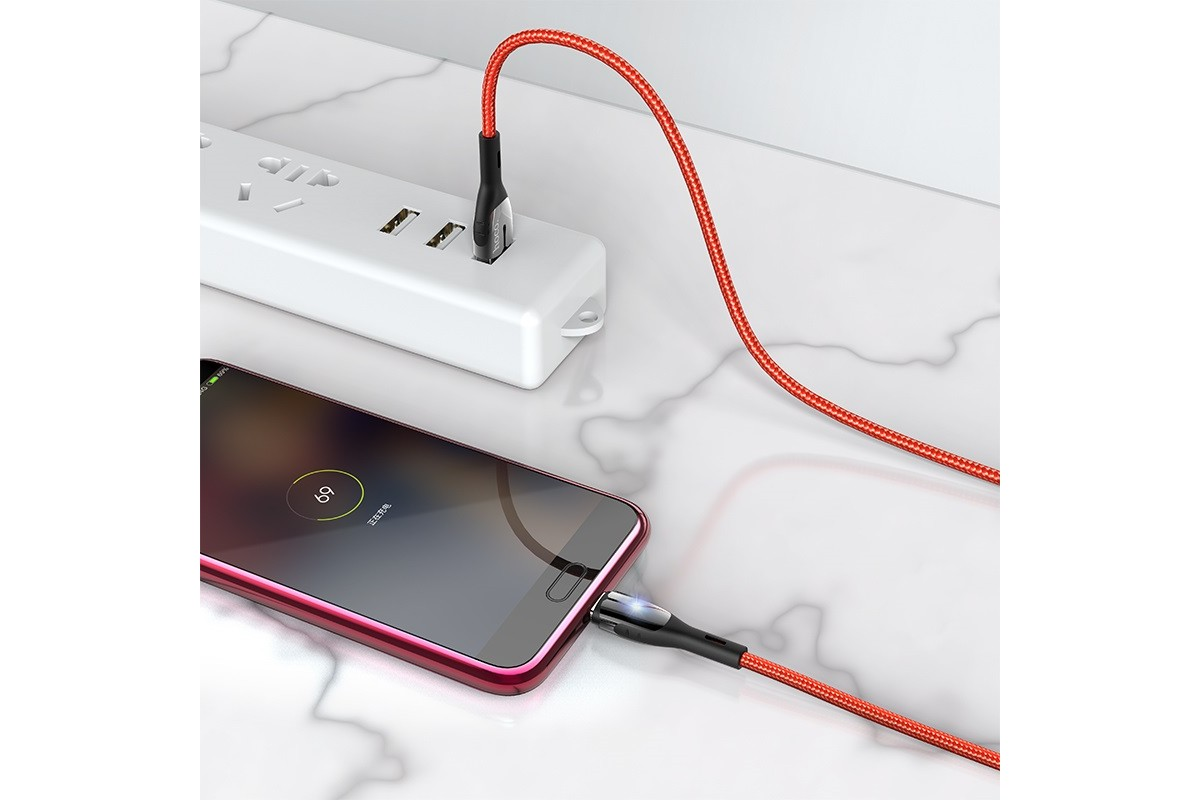 Кабель USB micro USB HOCO U89 Safeness charging cable for Micro (красный) 1 метр