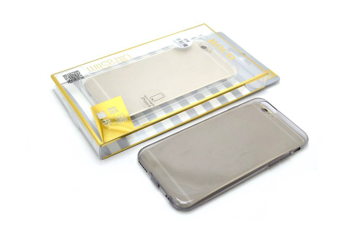 Силиконовая накладка iPhone 6/6S HOCO Light Series TPU Case серая (в фирменной упаковке)