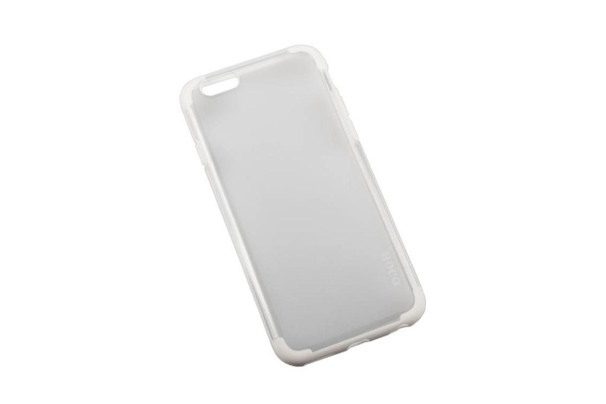 Пластиковая накладка iPhone 6/6S HOCO Steel Series Double-ColorPC прозрачная с белой окантовкой (в фирменной упаковке)