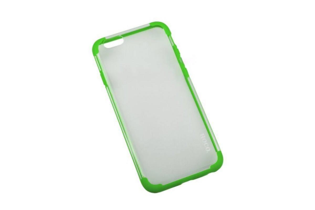 Пластиковая накладка iPhone 6/6S HOCO Steel Series Double-ColorPC прозрачная с зеленой окантовкой (в фирменной упаковке)