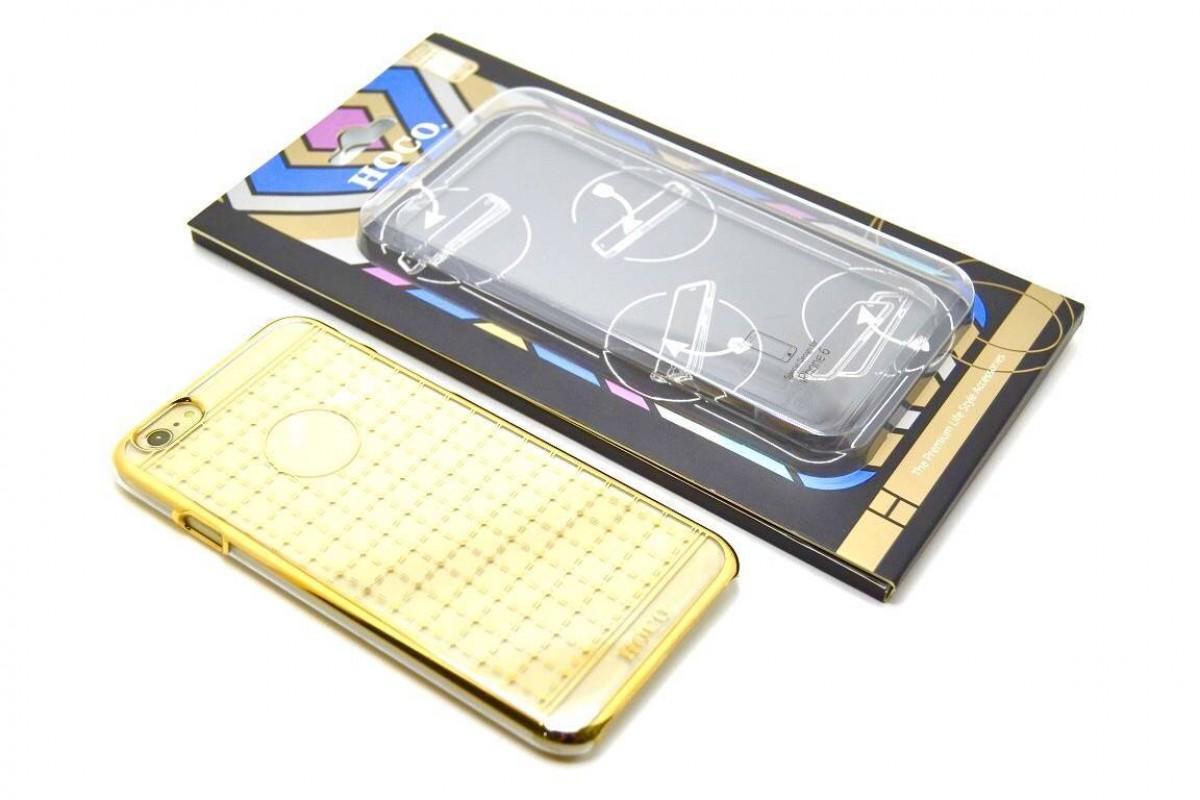 Пластиковая накладка iPhone 6/6S HOCO Plaid Pattern Plating золотистый (в фирменной упаковке)
