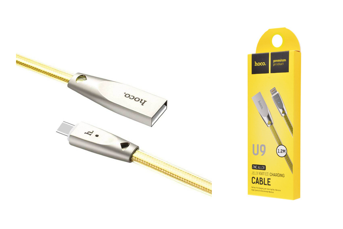 Кабель USB micro USB HOCO U9 Zinc Alloy Jelly Knitted cable (золотой) 1 метр