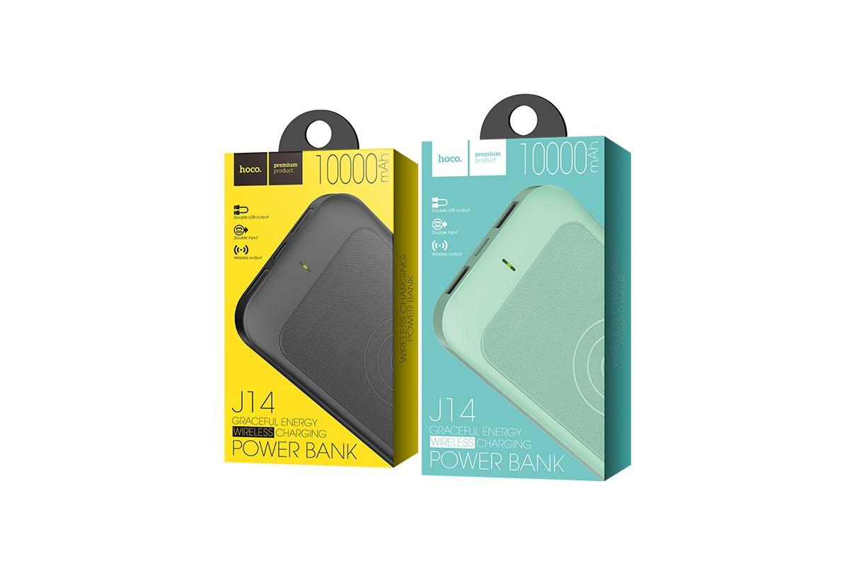 Универсальный дополнительный аккумулятор HOCO  J14 Graceful energy wireless chargin 10000 mAh  черный