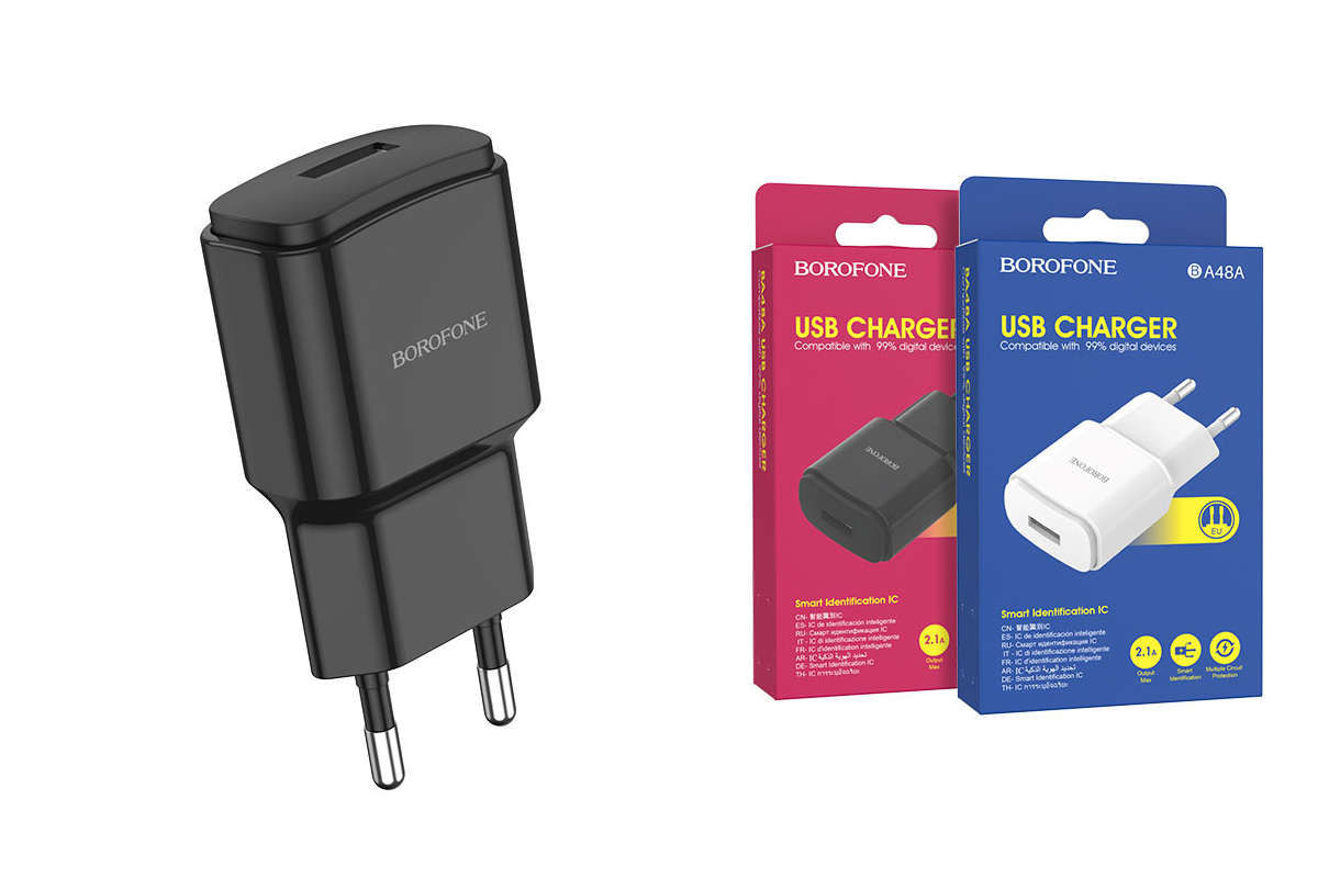 Сетевое зарядное устройство USB 2100mAh  BOROFONE BA48A Orion single port charger черный