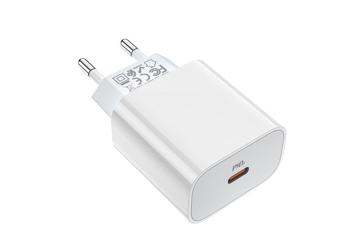 Сетевое зарядное устройство Type-C 20W Speed charger PD HOCO C76А белый (для iPhone 11-12 серий)