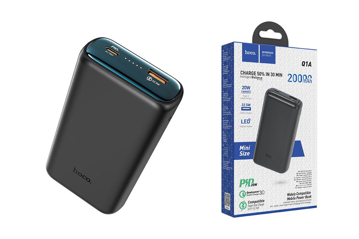 Универсальный дополнительный аккумулятор HOCO Q1A Kraft fully compatibl power bank (20000mAh) черный