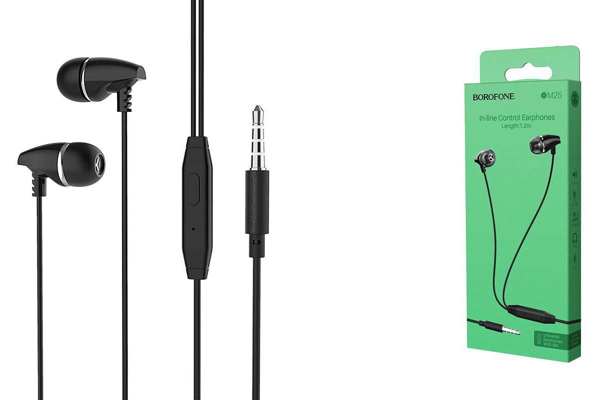 Гарнитура BOROFONE BM25 Sound edge universal 3.5мм цвет черная