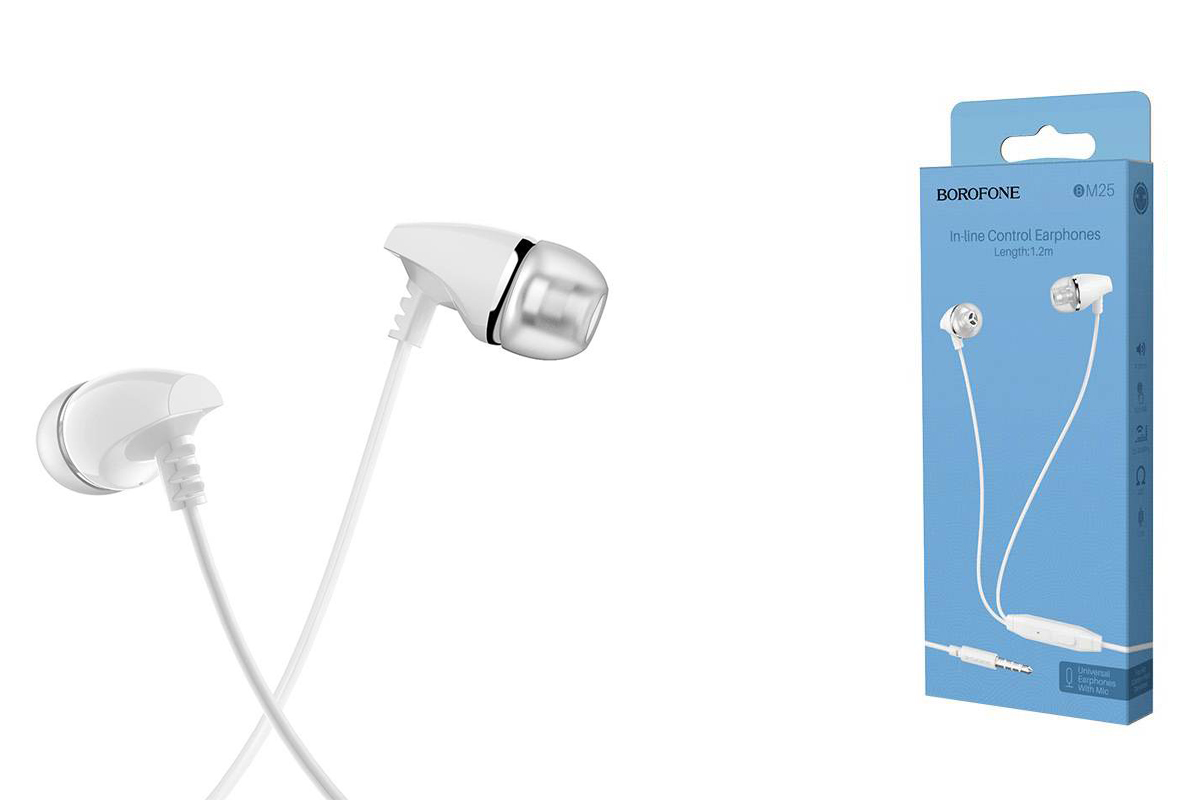Гарнитура BOROFONE BM25 Sound edge universal 3.5мм цвет белая