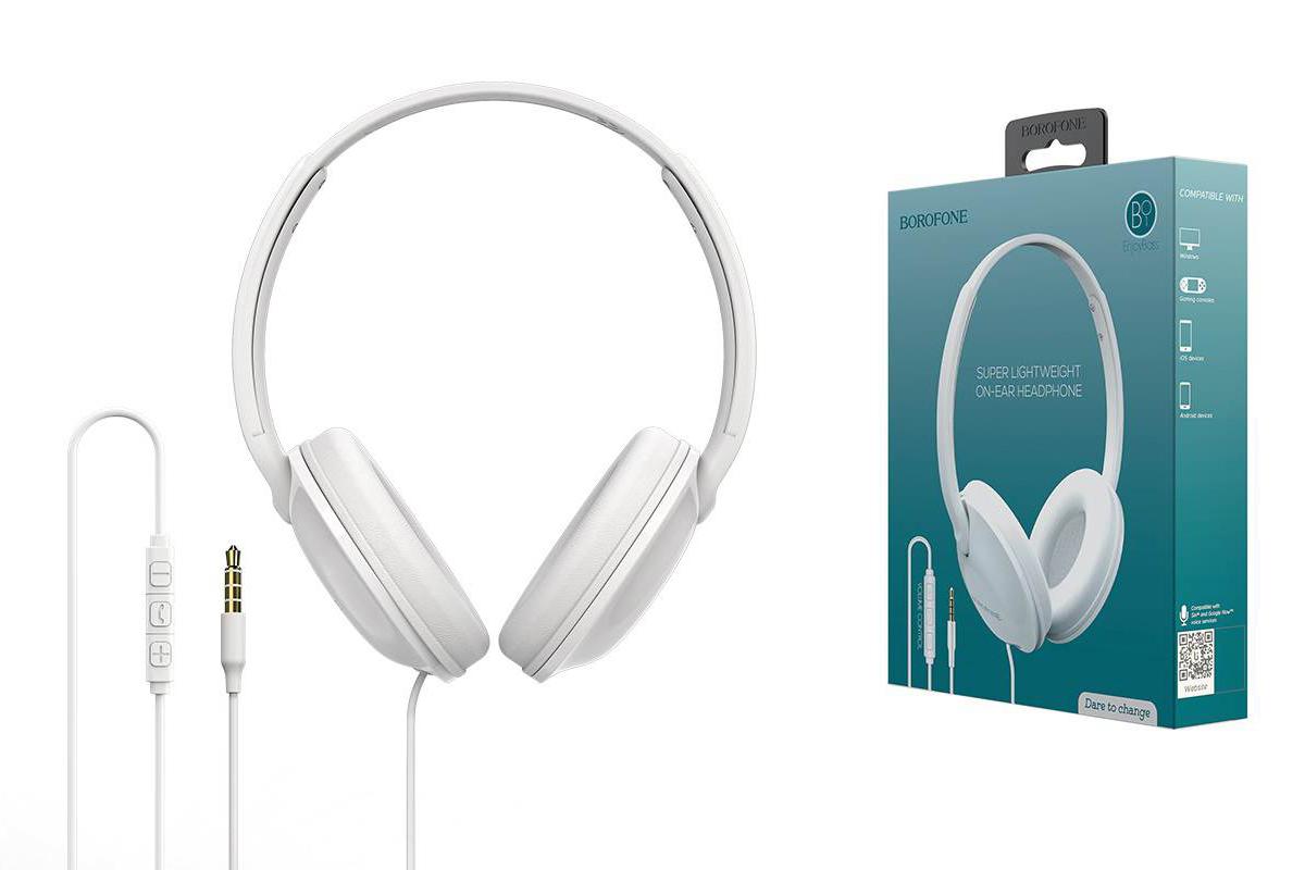 Внешние наушники/гарнитура  BO1 BOROFONE EnjoyBass In-line Control Wired Headphone белый