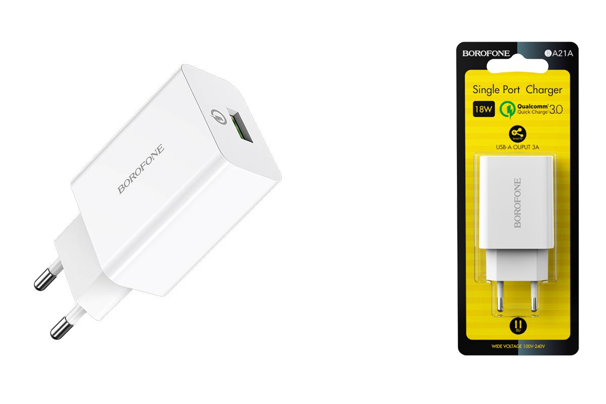 Сетевое зарядное устройство USB 2100mAh  BOROFONE BA21A Long journey single port QC3.0 charger белый