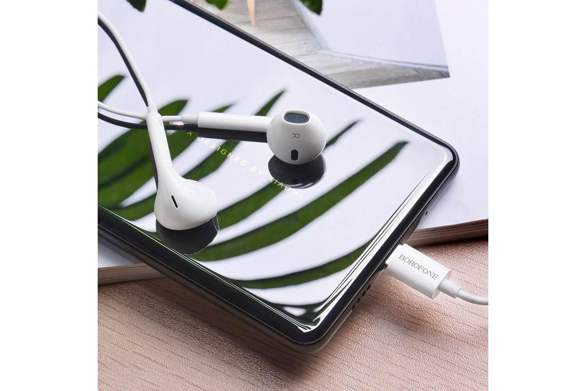 Гарнитура BOROFONE BM27 Amazing sound Type-C earphones цвет белая