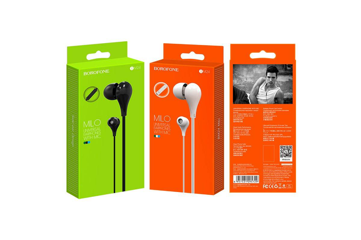 Гарнитура BOROFONE BM24 Milo universal earphones 3.5мм цвет черная