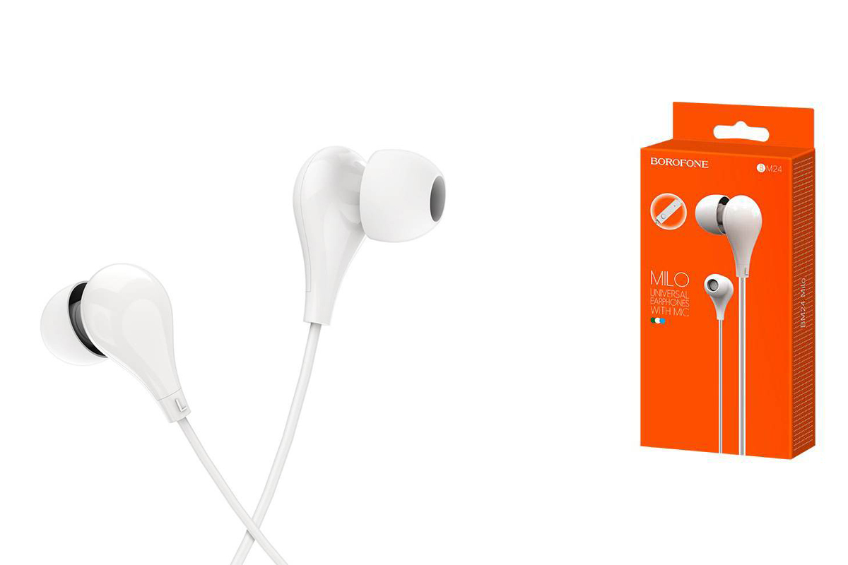 Гарнитура BOROFONE BM24 Milo universal earphones 3.5мм цвет белая