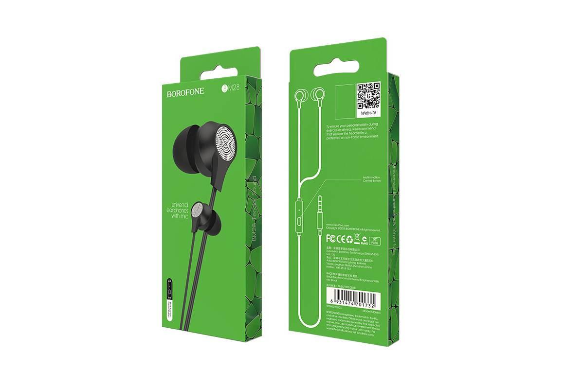 Гарнитура BOROFONE BM28 Tender sound universal earphones 3.5мм цвет черная