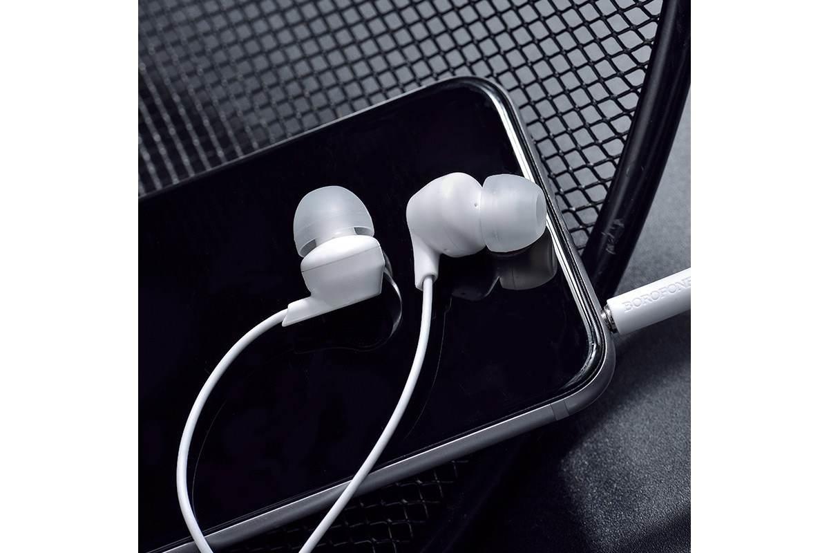 Гарнитура BOROFONE BM28 Tender sound universal earphones 3.5мм цвет белая
