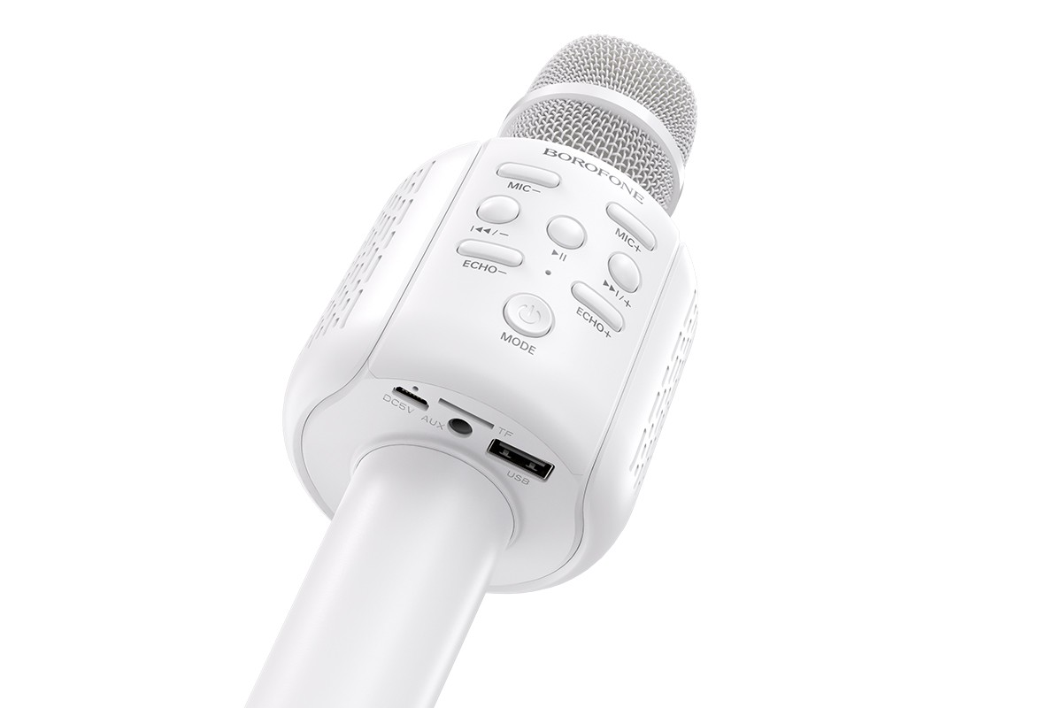 Портативная беспроводная акустика караоке BOROFONE BF1 Rhyme karaoke microphone цвет белый