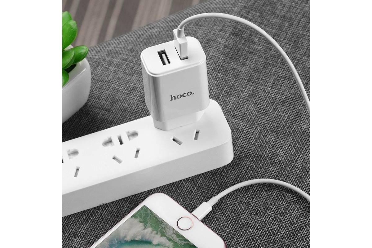 Сетевое зарядное устройство 2 USB 2400 mAh + кабель micro USB HOCO C62A Victoria белый Fast Charging
