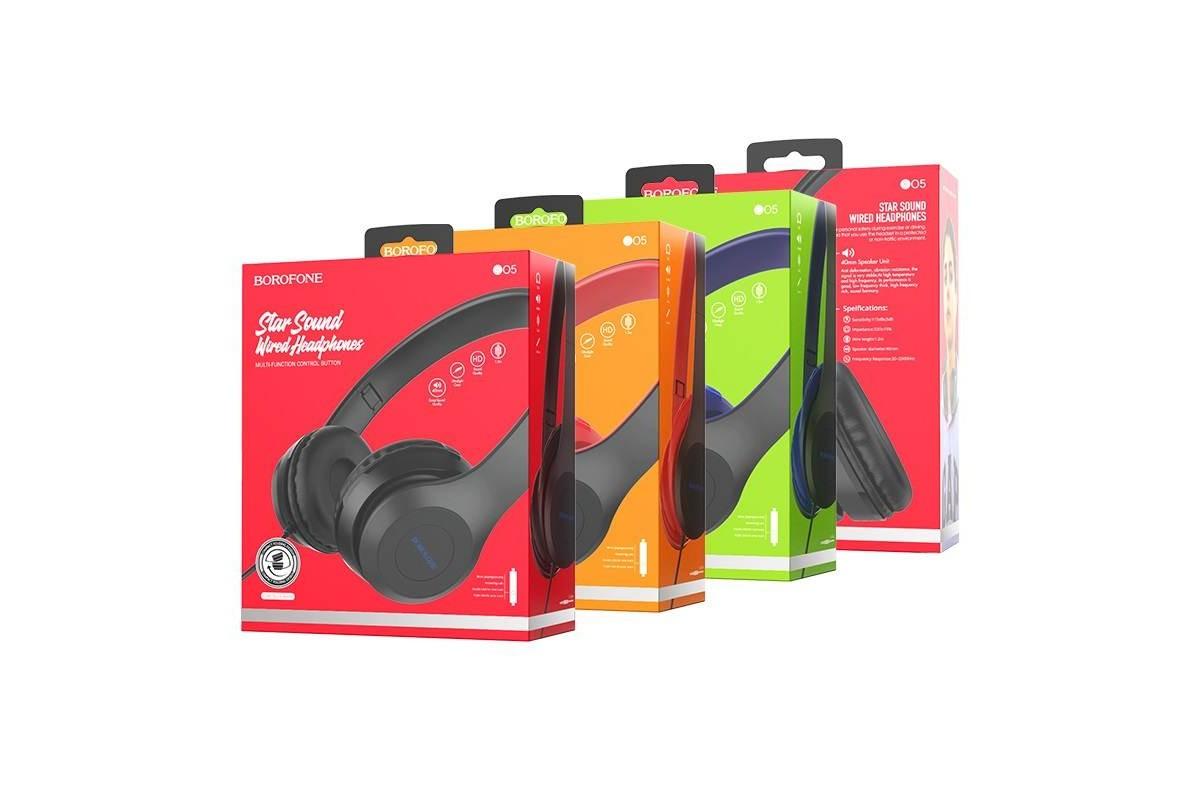 Внешние наушники/гарнитура  BO5 BOROFONE Star sound wired headphones черный