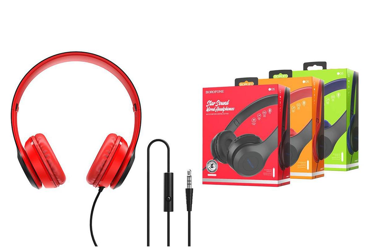 Внешние наушники/гарнитура  BO5 BOROFONE Star sound wired headphones красный