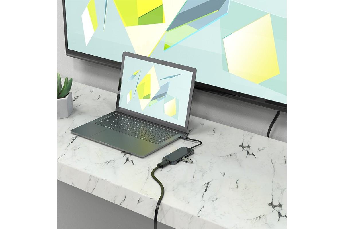Адаптер USB Type-C (M) --> HDMI (F) + 3xUSB3.0 (F) + Type-C PD 67W (F) HOCO HB15