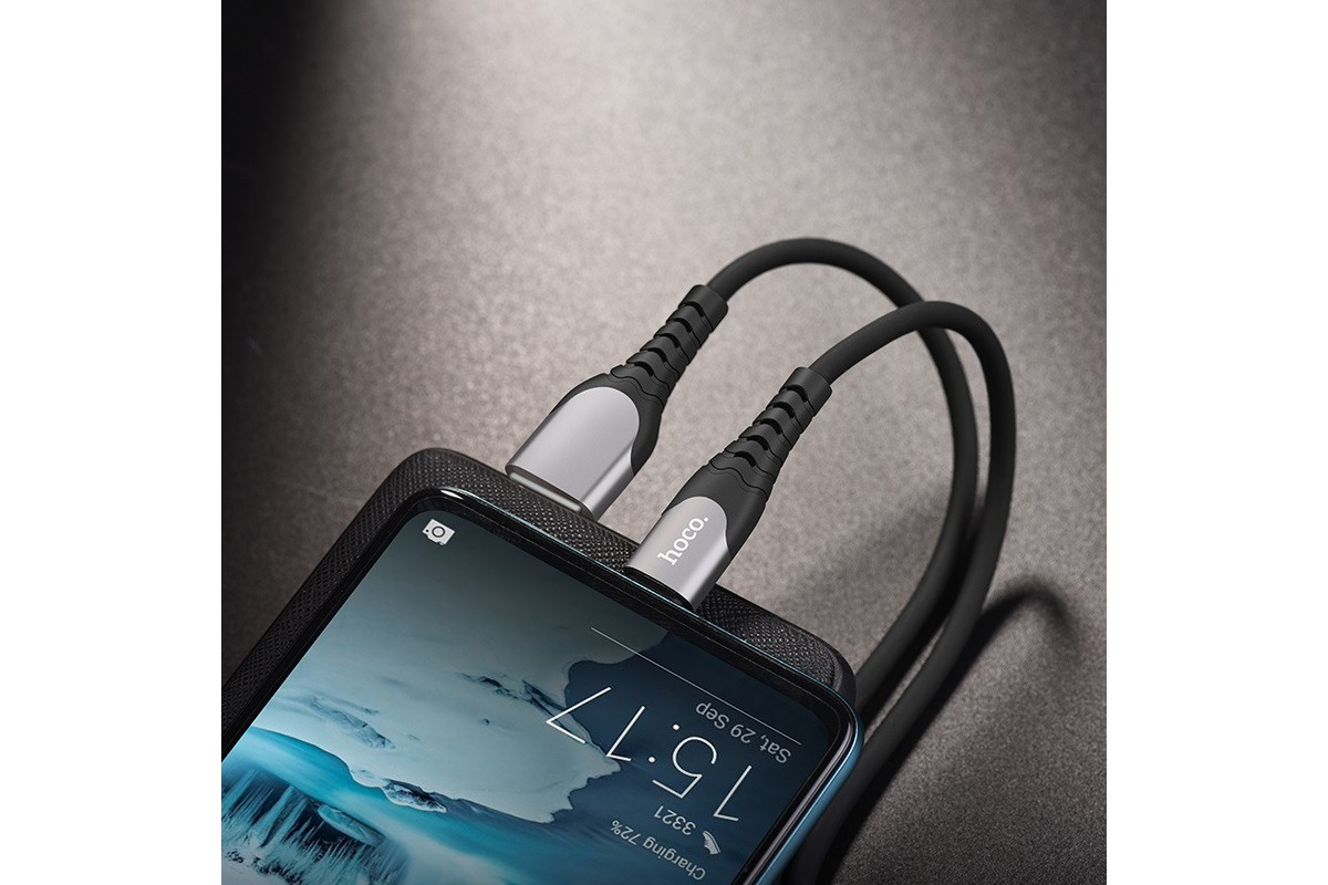 Кабель USB HOCO U80 Cool silicone charging cable for Type-C (черный) 1 метр