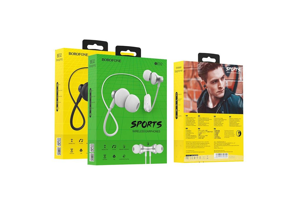 Bluetooth-гарнитура BOROFONE BE32 Easygoing Sports wireless earphonesl 3.5мм цвет белая