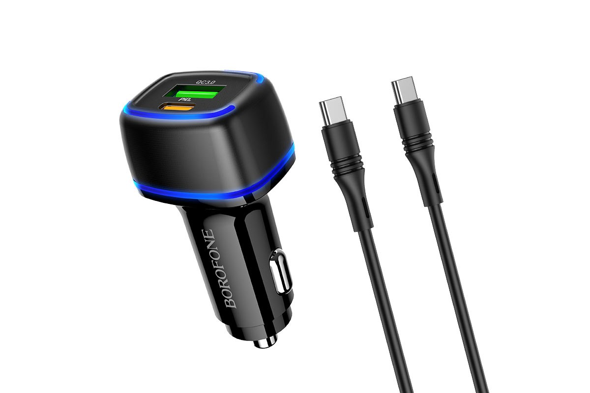 Автомобильное двойное зарядное устройство USB+Type-C BOROFONE BZ14A dual port  + кабель Type-C-Type-C  20W+QC3.0  черный