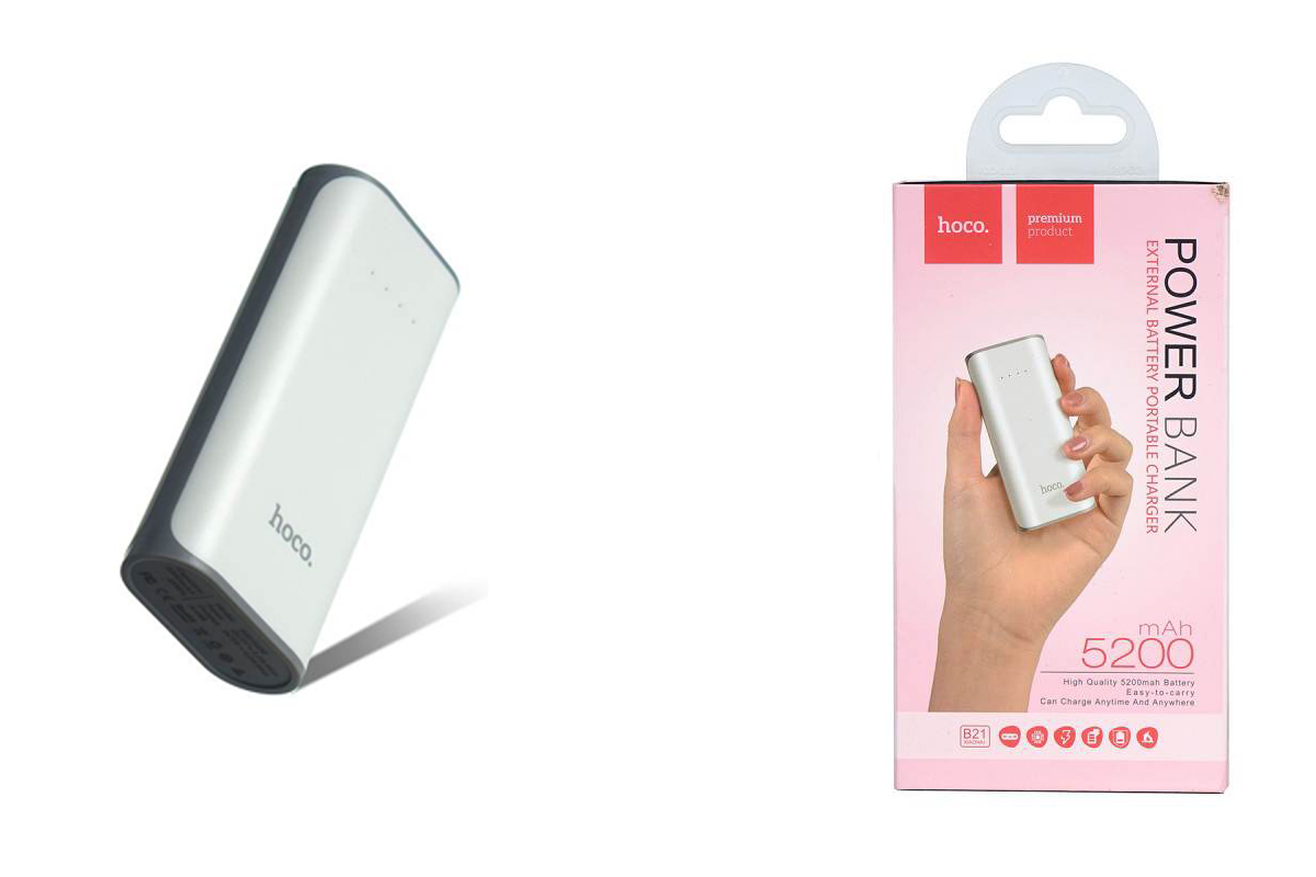 Универсальный дополнительный аккумулятор HOCO Power Bank 5200 mAh  белый