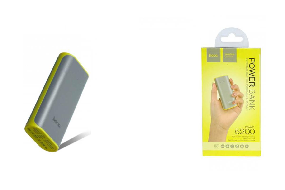 Универсальный дополнительный аккумулятор HOCO Power Bank 5200 mAh  серый