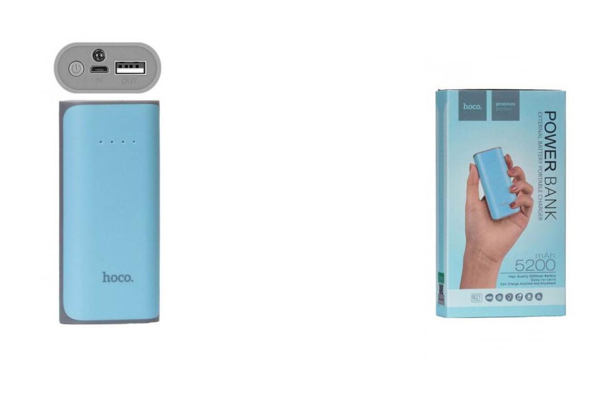 Универсальный дополнительный аккумулятор HOCO Power Bank 5200 mAh  синий